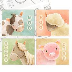 Kids Farm Animals Art Print Set of 4 Prints - pig, cow, horse, sheep, farm, animals, sounds, cute whimsical kids nursery art