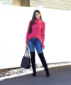 Bright Pink Sweater and Black Over the Knee Boots - The Style Contour Only Fashion, Fashion Beauty, Flattering Outfits, Leopard Print Shoes, Hourglass Shape, Color Pairing, Pink Sweater, Outfit Posts, Fashion Bloggers