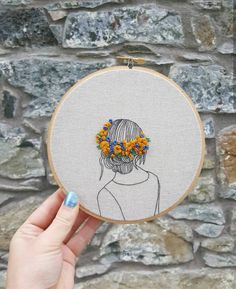 Handmade embroidery art 6 Hoop One of a kind Fine Art Embroidery. Hand embroidered hoop art 6 inches featuring my own ar Hand Embroidery Patterns Free, Hand Embroidery Art, Embroidery Flowers Pattern, Simple Embroidery, Modern Embroidery, Embroidery Kits, Art Patterns, Modern Patterns, Zardozi Embroidery