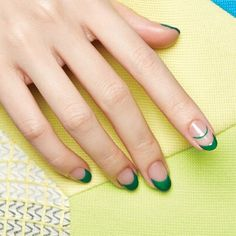 Green and transparent manicure | Cushnie Et Ochs Nail Art Inspiration