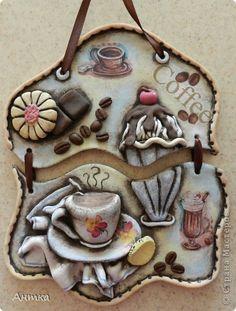 Интерьер, Картина, панно, рисунок, Поделка, изделие Декупаж, Лепка, Роспись: А может чашечку кофе? Тесто соленое Масленица, Отдых. Фото 1