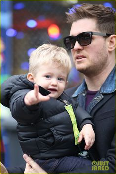 Michael Buble Takes His Son Noah to a Christmas Theme Park!  Fab photo of both of them xx