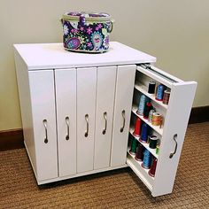 The exciting new 36 - 6 Drawer Thread Caddy is a big hit! Sewing Room Design, Craft Room Design, Sewing Spaces, Sewing Rooms, Space Saving Furniture, Home Decor Furniture, Furniture Makeover, Sewing Room Organization, Craft Room Storage