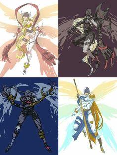 Angewomon, LadyDevimon, Devimon, and Angemon