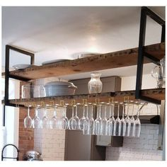 Ready to ship in business days! These Ceiling-Mounted Floating Shelf Brackets are handcrafted out of heavy duty steel. Capacity, if properly installed into trusses, is rated for 160 lbs. Price is for two brackets- wood not included in price. Suspended Shelves, Black Floating Shelves, Floating Shelf Brackets, Floating Shelves Kitchen, Hanging Shelves, Kitchen Shelves, Floating Wall, Kitchen Storage, Kitchen Cabinets