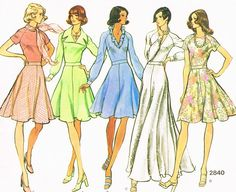 1970s Day or Evening Dress Pattern VOGUE BASIC DESIGN 2840 Mid knee or Floor Maxi Length Raglan Sleeves Flirty Flared Skirt Bust 32.5 Vintage Sewing Pattern FACTORY FOLDED