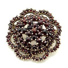 Antique Bohemian Garnet Brooch - Rose Cut Red Garnets - Edwardian Antique Tiered Flower Design Brooch - Gold Plated 900 Silver Jewelry at VintageArtAndCraft