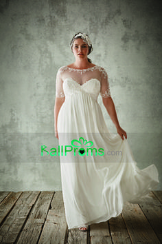 2016 Plus Size Scoop A Line Prom Dresses Chiffon With Embroidery US$ 169.99 BAPX1PZ2EP - BallProms.com for mobile