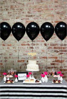 black and pink dessert table #blackandgoldwedding #modernwedding #weddingchicks http://www.weddingchicks.com/2013/12/31/black-and-gold-wedding-ideas/