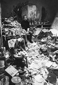 (1960) A shot of famous Irish painter Francis Bacon in the chaotic mess that was his studio.