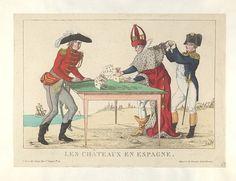April 1814:Bodleian Libraries, Les châteaux en Espagne.French political cartoon; References: De Vinck, No. 8397.