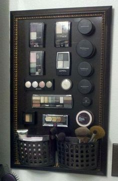 Make-up organizer. Attach magnets to bottom of makeup.