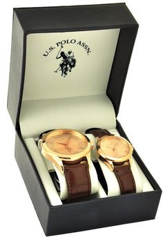 182b5641b4e U.S. Polo Assn. Men s and Women s Classic USC2243 Brown Leather Strap Watch  Set  USPoloAssn