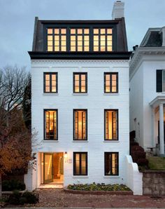 Georgetown House Painted white brick, black framed windows and modern Mansard roof--killer exterior Architecture Design, Architecture Classique, Classical Architecture, Architecture Career, Computer Architecture, Architecture Company, Beautiful Architecture, Landscape Architecture, Design Exterior