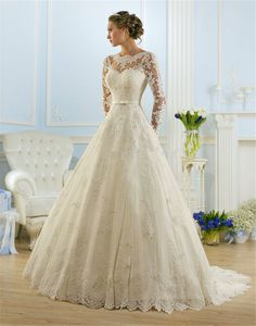 2016 Wedding Dress Vestido de Noiva Bridal Gown Long Sleeve with Lace Appliques Lace up Back