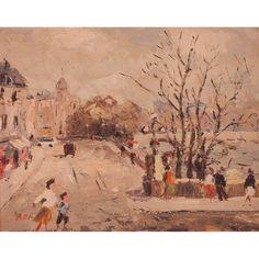 """NARCISO ROTA  AUTOR: NARCISO ROTA    REFERENCIA:  7109-2  """"Escena de París"""".    Óleo/cartón.     Firmado: N. Rota.    Medidas: 38 x 46 cm."""