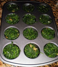 """Egg and spinach """"muffins""""... I might have to try this. I wonder how it'd turn out with fresh spinach, rather than frozen. (Hell, I'm not even paleo!)"""
