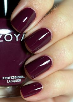 Zoya Designer Collection I love Zoya polish. So many colors to choose from. Since making the switch to gel polish. I sandwich my Zoya color in between my other steps of gel polish. Gelly sandwich anyone? I like this color for my hair! Dark Nails, Gel Nails, Acrylic Nails, Dark Purple Nails, Nail Polishes, Stiletto Nails, Shellac, Cute Nails, Pretty Nails