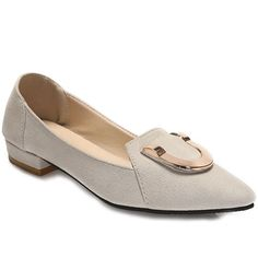 Elegant Suede and Solid Colour Design Women's Flat Shoes