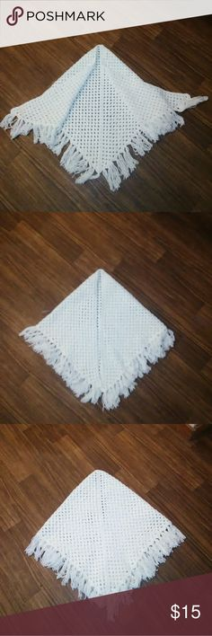 Handmade Shawl Description: pure white; crocheted; fringe around the edges; handmade Size: OS fits most Condition: excellent Sweaters Shrugs & Ponchos