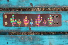Leather Cuff Bracelet Hand Painted Serape by DixieWildDesigns
