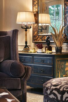 A Beautiful Corduroy Wing Chair* Chinosierre Chest* Traditional Table Lamp* Burnished Mirror..