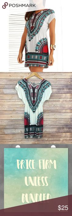 """Boho Chic Printed Summer Dress Boho Chic Printed Summer Dress. 100% polyester. One size fits most. Elastic waistband. Waist 21"""" extends to 40"""". Length 30"""". price firm unless bundled. Bundle 3+ to save 15% off Dresses Mini"""