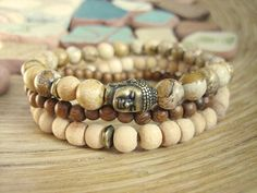 Mens Buddha Bracelet Set - (3 Bracelets) Picture Jasper, Brass and Sandalwood, Tulsi Wood Mala and Brown Wood Bracelet