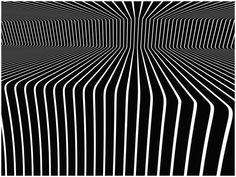 Dit ziet er verwarrend uit, want het is met perspectief getekend, maar de lijntjes lijken ook te bewegen. Ook onderscheid ik paarse kleurtjes, maar dat kan aan mij liggen. Victor Vasarely, Fashion Painting, Op Art, Illusion Art, Optical Illusions, Art History, Artists, Design Trends, Painting Styles