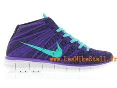Officiel Nike Free Flyknit Chukka Chaussures Nike Running Pour Homme Court Purple/Hyper Jade-Black-White 639699-500