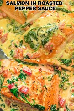 This Salmon in Roasted Pepper Sauce makes an absolutely scrumptious meal, worthy. This Salmon in Roasted Pepper Sauce ma. Sauce Recipes, Meat Recipes, Seafood Recipes, Cooking Recipes, Healthy Recipes, Italian Fish Recipes, Vegetarian Recipes, Seafood Meals, Icing Recipes