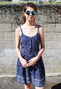 7f16f47c764 Vintage 90s Navy Ditsy Print Slip Dress Ditsy