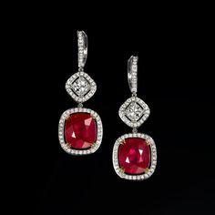 "RONALD ABRAM (@ronaldabram) on Instagram: Exceptional earrings featuring a vibrant pair of cushion cut ""Pigeon Blood"" Burmese rubies totalling 14.08 carats. #red #ruby #burmeseruby #burma #rubyearrings #earrings #cushioncut #gemstone"