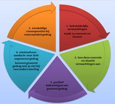 de PBS basisprincipes voor het aanleren van gewenst gedrag in een overzichtelijke tabel.