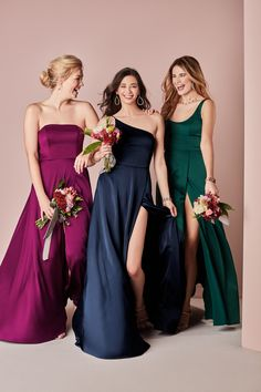 Fall in love this this gorgeous bridal party palette inspired by the beautiful colors of gemstones! Colors like Sangria, Marine, and Gem make the ultimate color scheme for any wedding! | #gembridalparty #2021bridesmaids #modernbridesmaids | Style F20097 in Sangria, F20099 in Marine, F20098 in Gem | Shop these style and colors at davidsbridal.com Mix Match Bridesmaids, Mismatched Bridesmaid Dresses, Bridesmaid Dress Colors, Burgundy Wedding, Red Wedding, Wedding Ideas, Bridal Party Dresses, Wedding Dresses, Davids Bridal