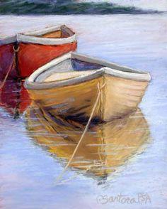 beach boat painting - Carol Santora