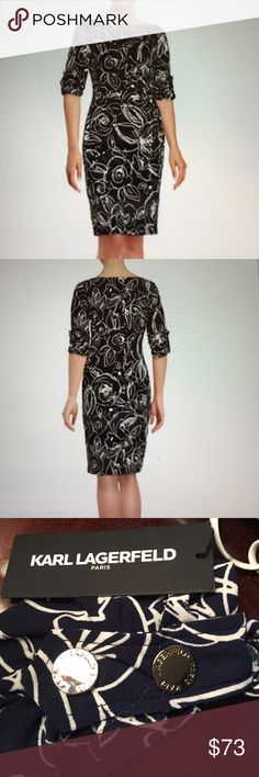 """KARL LAGERFELD PARIS FLORAL SHEATH DRESS BRAND NEW Ruched crepe shapes a cinched style, boatneck, elbow length sleeves with 2 buttons accents (pic 3), ruched side, lined, approx 38"""" from shoulder to hem, polyester.  Very dark navy (almost black) and white Karl Lagerfeld Dresses"""