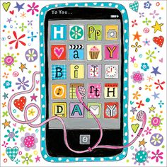 Birthday Mobile - Great quality card suitable for older child - 5x5 from £1.40 each www,jackies-cards.co.uk