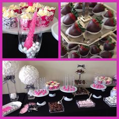 Black white and fuchsia theme candy bar Birthday Candy, Sweet 16, Buffet, Black White, Bar, Desserts, Color, Ideas, Colour