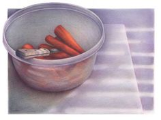 colored pencil still life painting of peeled and chopped carrots in a clear plastic bowl