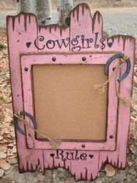 """Add spunk to your walls with our cute cowgirl decor barnwood cork board. Color & graphic can be changed to fit the """"cowgirl"""" or """"cowboy"""" in you. Western Wall Decor, Rustic Wall Decor, Country Decor, Anniversaire Cow-boy, Cowgirl Bedroom, Hanging Pictures, Little Girl Rooms, My New Room, Barn Wood"""