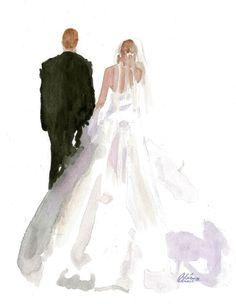 Original wedding watercolor portraits.