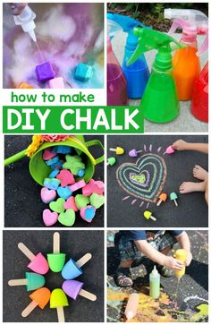 May 2016 - There are so many fun ways to make DIY chalk, including some really awesome ideas like exploding chalk and glow in the dark chalk! Fun Arts And Crafts, Crafts For Kids To Make, How To Make Diy, Fun Crafts, Art For Kids, Kids Diy, Simple Crafts, Simple Diy, Summer Activities For Kids