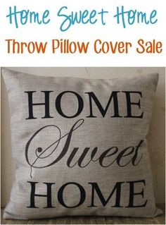 Vintage Home Sweet Home Zipper Throw Pillow Covers: $3.98 + Free Shipping!! {such an easy way to update your living room pillows} | TheFrugalGirls.com