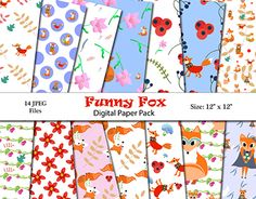 """Check out new work on my @Behance portfolio: """"Funny Fox Digital Paper Pack!"""" http://be.net/gallery/52063229/Funny-Fox-Digital-Paper-Pack"""
