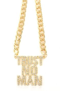 Sparkly TRUST NO MAN necklace #wholesale #fashion #jewelry #accessories #necklaces #rhinestones