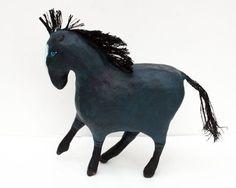 paper mache horses | Ol' Blue - One of a kind paper mache horse sculpture