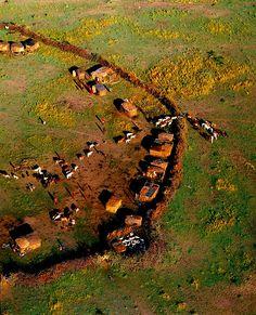 Aerial view of a Maasai village, Maasai Mara National Park, Kenya