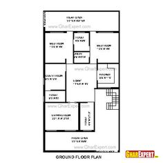 House Plan for 35 Feet by 65 Feet plot (Plot Size 253 Square Yards) New House Plans, Small House Plans, Hotel Floor Plan, House Map, Ground Floor Plan, Apartment Plans, Architecture Plan, Commercial, New Homes