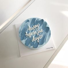 Pretty Birthday Cakes, Pretty Cakes, Beautiful Cakes, Pastel Cakes, Blue Cakes, Mini Cakes, Cupcake Cakes, Simple Cake Designs, Korean Cake